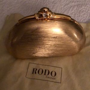 NWT RODO gold metal and rhinestone evening bag